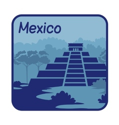 with Mayan pyramids in Mexico vector image