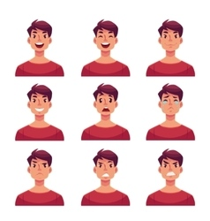 Set of young man face expression avatars vector