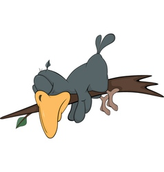 Darkly grey raven sleeping on a branch Cartoon vector image