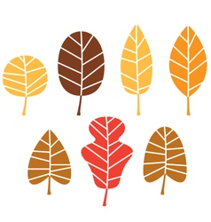 Colorful autumn tree leaves set isolated on white vector