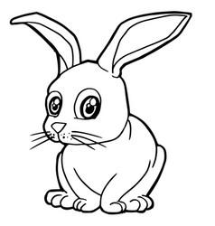 cartoon cute rabbit coloring page vector image