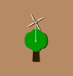 flat icon design wind turbine in sticker style vector image