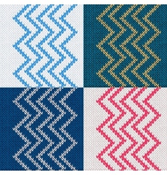 Set of seamless knitted pattern knit texture vector