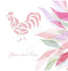 Vintage pink rooster background vector image