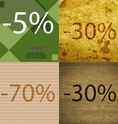 30 70 icon set of percent discount on abstract vector