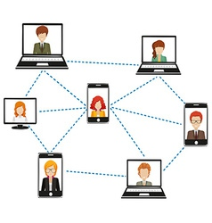 A network of people connected by technology vector
