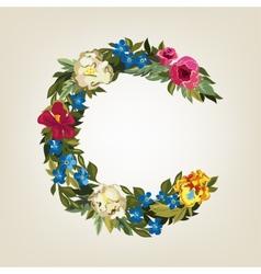 C letter flower capital alphabet colorful font vector