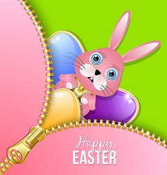 Easter eggs and bunny with zipper vector