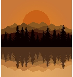 sunset mountain vector image