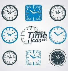 Simple wall clocks with stylized clockwise vector