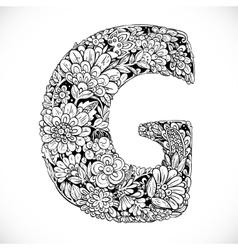 Doodles font from ornamental flowers - letter G vector image