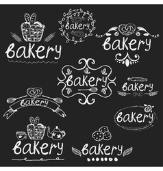Set of hand written label for bakery theme vector