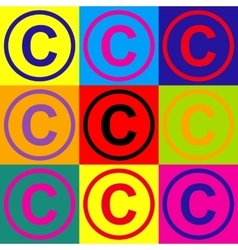 Copyright sign pop-art style icons set vector