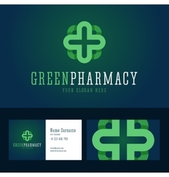 Green pharmacy logo and business card template vector