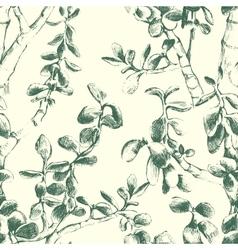 Jade plant seamless pattern vector
