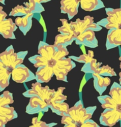 Narcissus flower seamless pattern vector