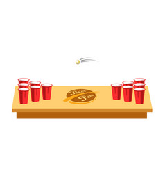Beer pong game for party on wooden table vector