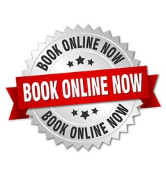 Book online now 3d silver badge with red ribbon vector