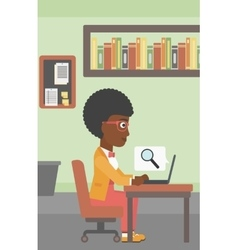 Business woman working on her laptop vector