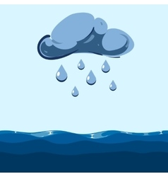 Cloud with falling rain sea vector