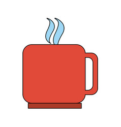 Color graphic silhouette mug of coffee with steam vector