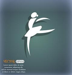 Dance girl ballet ballerina icon on the blue-green vector