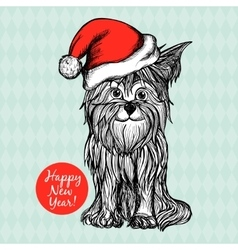 Dog in christmas hat vector