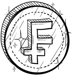 doodle currency coin franc vector image
