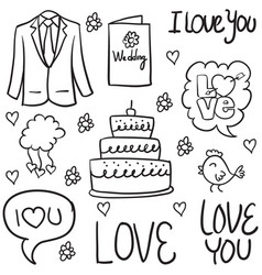 Doodle of wedding element design vector
