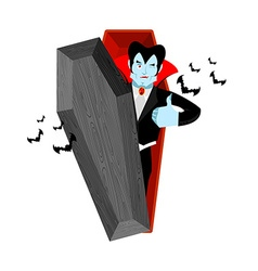 Dracula and coffin Vampire Thumbs up shows well vector image