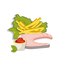 Fish steak with french fries and sose vector