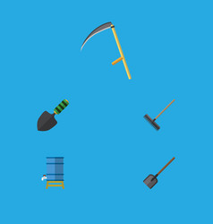 Flat icon farm set of harrow shovel trowel and vector