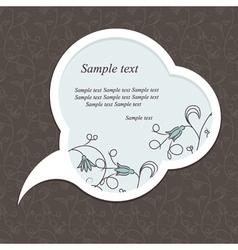 Floral speech bubble dark vector