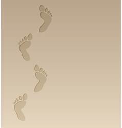 foot steps on the sand vector image vector image