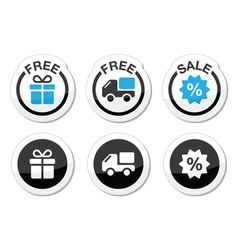 Free gift free delivery sale labels set vector