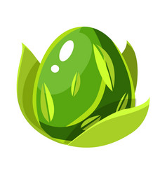 Green natural plant force egg with leaf pattern vector