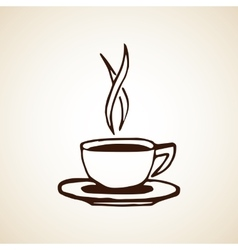 Hand drawn coffee cup sketch vector