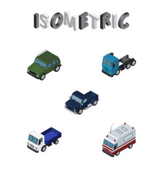 Isometric automobile set of suv lorry truck and vector