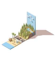 isometric seaside landscape vector image