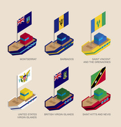 Isometric ships with flags of caribbean countries vector