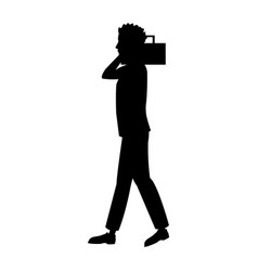 man walk with radio cassette player pictogram vector image
