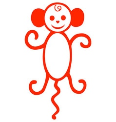 monkey red vector image vector image