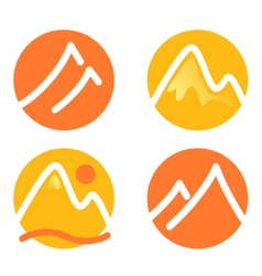 Mountain icons set isolated on white - orange vector image