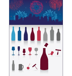 party drinks set with firework vector image