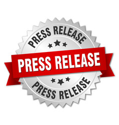 Press release round isolated silver badge vector