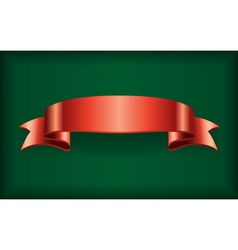 Red ribbon satin bow banner green vector