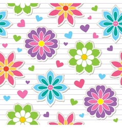 seamless pattern of flower stickers vector image vector image