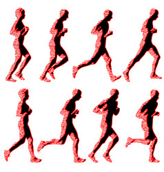 Set of silhouettes runners on sprint men and vector