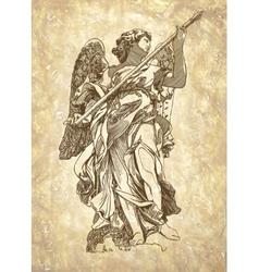 Sketch digital drawing marble statue of angel vector