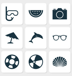 Sun icons set collection of tube conch dinghy vector
